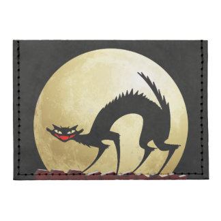 Halloween Black Cat with Full Moon Tyvek® Card Case Wallet