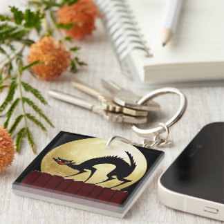 Halloween Black Cat with Full Moon Key Chains