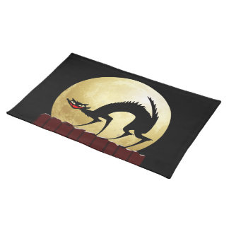 Halloween Black Cat with Full Moon Place Mats