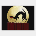 Halloween Black Cat with Full Moon Sign