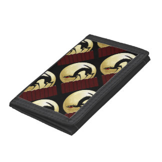 Halloween Black Cat with Full Moon Tri-fold Wallets