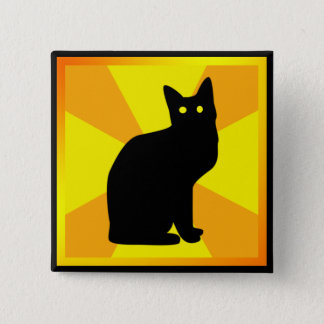 Halloween Black Cat with Glowing Eyes - Pinback Button