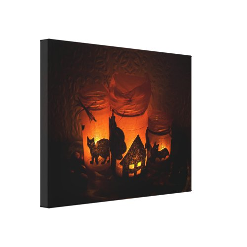 Halloween Black Cat with Luminaries and Bats Canvas Print