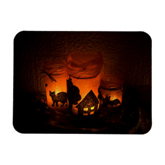 Halloween Black Cat with Luminaries and Bats Magnet