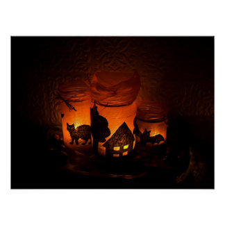 Halloween Black Cat with Luminaries and Bats Poster