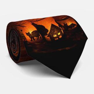 Halloween Black Cat with Luminaries and Bats Tie