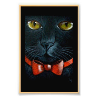 HALLOWEEN BLACK CAT with ORANGE BOW PRINT