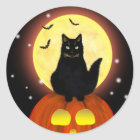 Halloween Black Cat with Pumpkin Classic Round Sticker