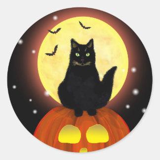 Halloween Black Cat with Pumpkin Classic Round Sticker
