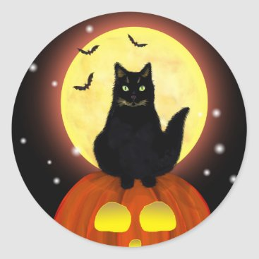 Halloween Themed Halloween Black Cat with Pumpkin Classic Round Sticker