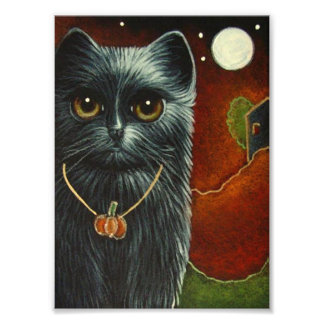 HALLOWEEN BLACK CAT with PUMPKIN PENDANT PRINT