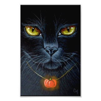 "HALLOWEEN BLACK CAT WITH PUMPKING PENDANT 4"" X 6"" PHOTO PRINT"