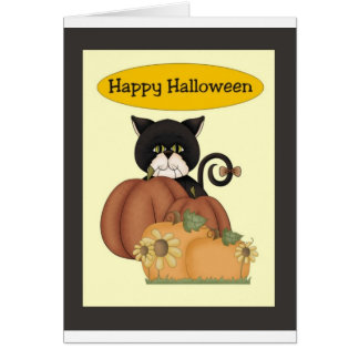 Halloween Black Cat with Pumpkins Greeting Card
