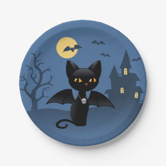 Halloween Black Cat with Wings 7 Inch Paper Plate