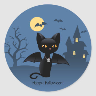 Halloween Black Cat with Wings Classic Round Sticker