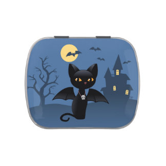 Halloween Black Cat with Wings Jelly Belly Candy Tins