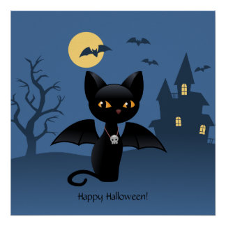 Halloween Black Cat with Wings Poster