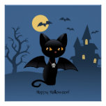 Halloween Black Cat with Wings Print