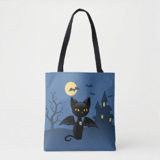 Halloween Black Cat with Wings Tote Bag