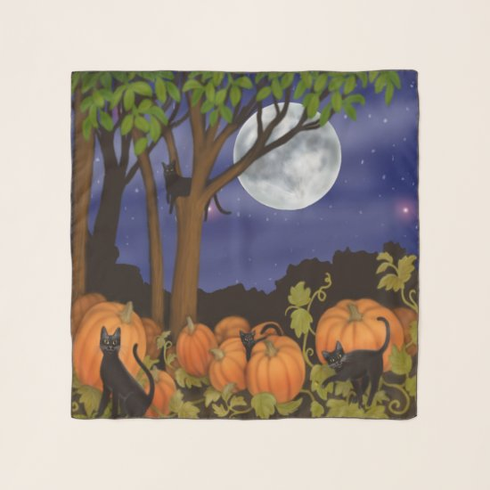 Halloween Black Cats Pumpkin Patch Chiffon Scarf