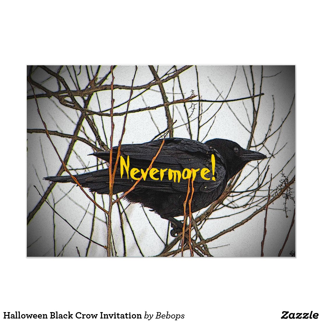 Halloween Black Crow Invitation