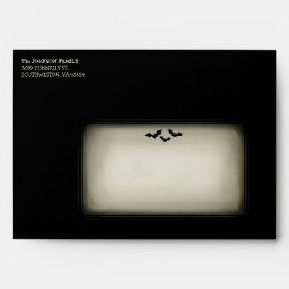 Halloween Black Envelope - Tan Window with Bats