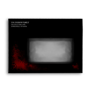 Halloween Black Envelope with Red blood Splatter