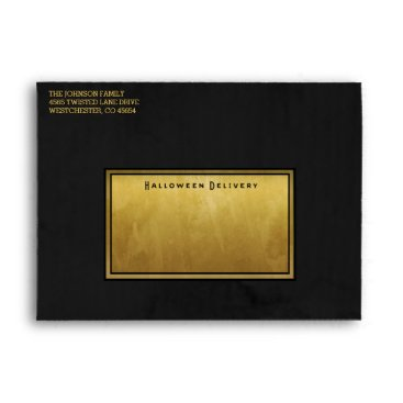 Halloween Themed Halloween Black & Gold with Bat on Front Envelope
