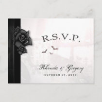 Halloween Black Gothic Matching RSVP PostCard