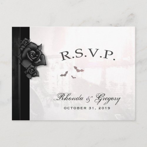 Halloween Black Gothic Matching RSVP PostCard