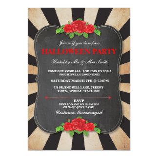 Halloween Black Gothic Roses Frame Party Invite
