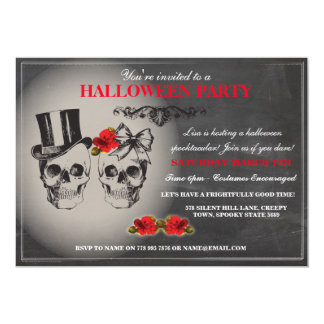 Halloween Black Gothic Skull Rose Party Invite