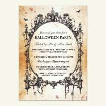 Halloween Black Gothic Spider Frame Party Invite