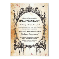 Halloween Black Gothic Spider Frame Party Invite at Zazzle