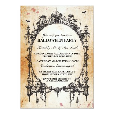 Halloween Themed Halloween Black Gothic Spider Frame Party Invite
