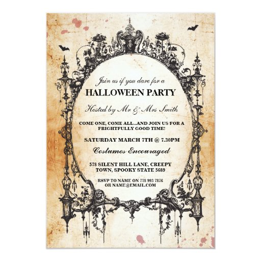 Halloween black gothic spider frame party invite zazzle for Free printable gothic wedding invitations