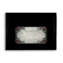 Halloween Black Gray Red Wedding Invite Envelope