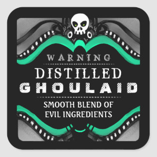 Halloween Black Green & White Drink or Treat Label