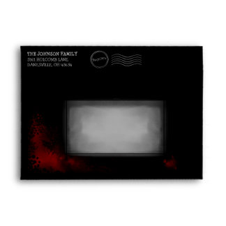 Halloween Black Invite Envelope Red blood Splatter