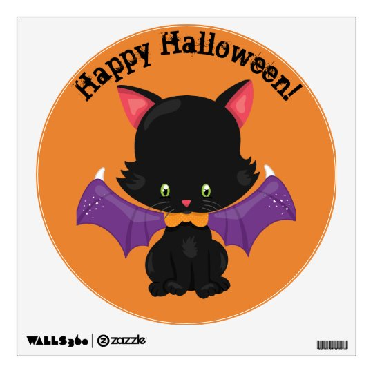 Black Kitten With Bat Wings Wall Decal