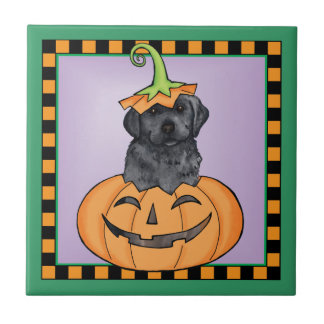 Halloween Black Lab Ceramic Tile