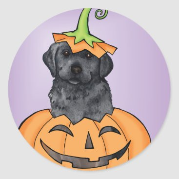 Halloween Themed Halloween Black Lab Classic Round Sticker
