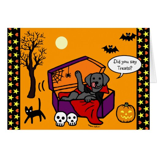 Halloween Black Lab Vampire Card
