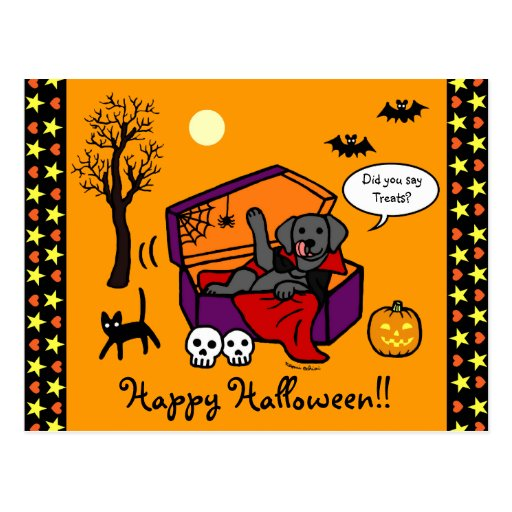 Halloween Black Lab Vampire Postcard