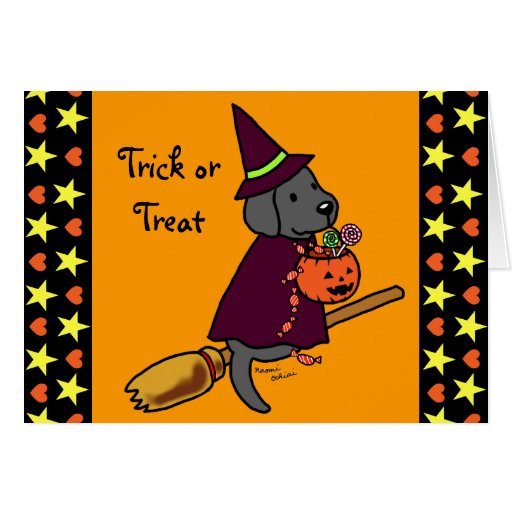 Halloween Black Labrador Cartoon 1 Card