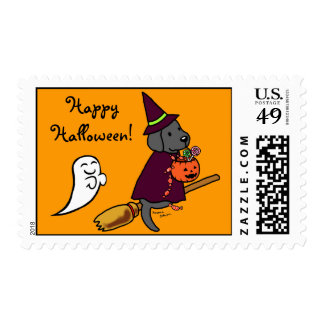 Halloween Black Labrador Cartoon 1 Postage Stamp