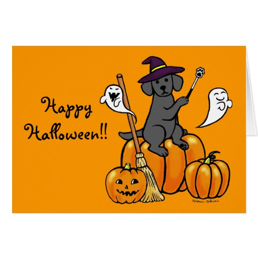 Halloween Black Labrador Cartoon 2 Card