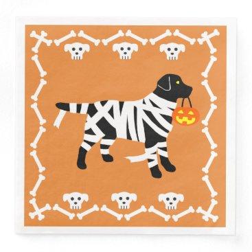 Halloween Themed Halloween Black Labrador Mummy Paper Dinner Napkin
