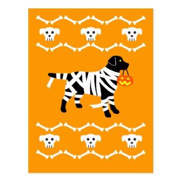 Halloween Themed Halloween Black Labrador Mummy Postcard