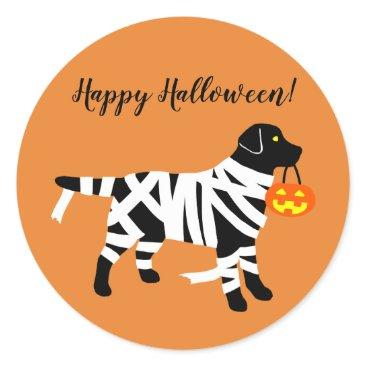 Halloween Themed Halloween Black Labrador Mummy Stickers